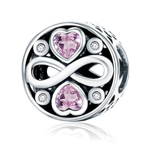 925 Sterling Silver Infinity Love Pink Heart Crystal Beads Fit Charm Bracelets Fine Jewelry S925 SCC240