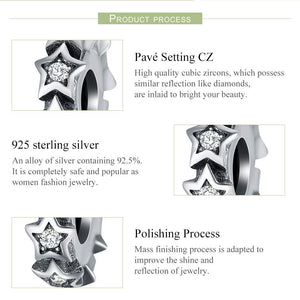 Fashion New 100% 925 Sterling Silver Stackable Star Spacer, Clear CZ Beads fit Charm Bracelets & Bangles Jewelry SCC244