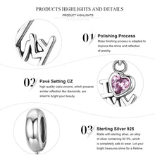 Load image into Gallery viewer, Genuine 925 Sterling Silver I Love My Family Heart Dangle Charms fit Women Charm Bracelets Jewelry Family Gift SCC251