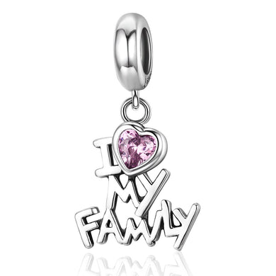 Genuine 925 Sterling Silver I Love My Family Heart Dangle Charms fit Women Charm Bracelets Jewelry Family Gift SCC251