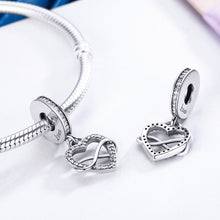 Load image into Gallery viewer, 925 Sterling Silver Endless Love Infinity Heart Dangle Beads fit Charm Bracelet for Women DIY Jewelr SCC261