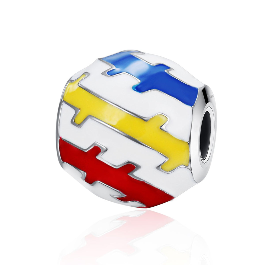Authentic 100% 925 Sterling Silver Beautiful Youth Color Enamel Charms Beads fit Women Charm Bracelets DIY Jewelry SCC275