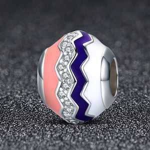 Romantic Real 100% 925 Sterling Silver Graceful Rhythm Color Enamel Beads fit Charm Bracelets Necklaces Jewelry SCC291