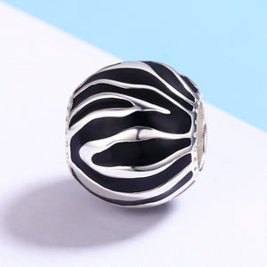 100% 925 Sterling Silver Fleeting Time Black & White Enamel Beads fit Women Bracelets Necklaces Jewelry SCC295