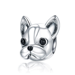 925 Sterling Silver Loyal Partners French BULLDOG Doggy Animal Beads fit Women Charm Bracelets Dog Jewelry SCC315
