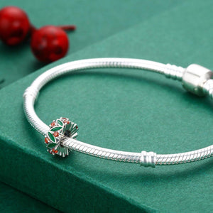 Christmas Jewelry 100% 925 Sterling Silver Christmas Tree Sign, Clear CZ Beads fit Charm Bracelet Jewelry Gift SCC317