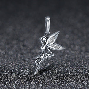 Authentic 925 Sterling Silver Flower Fairy Dangle Pendant Charms fit Women Charm Bracelets & Necklaces jewelry SCC359