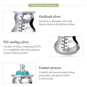 Authentic 925 Sterling Silver Baby Milk Bottle Memory Charms Beads fit Women Charm Bracelets Necklace DIY Jewelry SCC361
