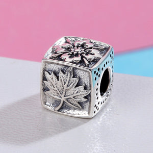 Fashion Design 925 Sterling Silver Square Season Snowflake Maple Leaves Beads fit Charm Bracelet DIY Fine jewelry SCC374