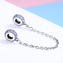 Load image into Gallery viewer, Real 100% 925 Sterling Silver Pink and Blue CZ Round Safety Chain Charm Fit Charm Bracelet DIY Jewelry Making SCC379