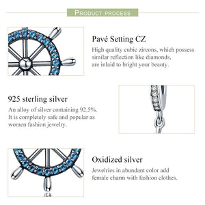 Genuine 100% 925 Sterling Silver Sea Voyage Ship Rudder Pendant Charms fit Women Bracelets Necklace Fine Jewelry SCC413