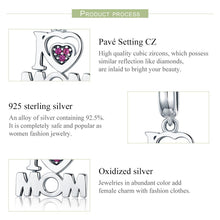 Load image into Gallery viewer, 100% Authentic 925 Sterling Silver i Love Mom Letter Pendant Charms fit Bracelets Fashion Jewelry Mother Gift SCC420