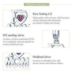 100% Authentic 925 Sterling Silver i Love Mom Letter Pendant Charms fit Bracelets Fashion Jewelry Mother Gift SCC420