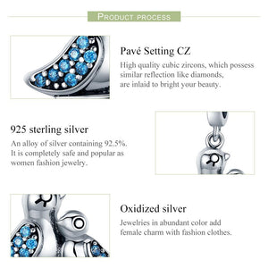 100% 925 Sterling Silver Cute Bird Dependency Clear CZ Pendant Charms fit Bracelets Necklace Jewelry Making SCC426