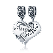 Load image into Gallery viewer, 100% 925 Sterling Silver Mother and Daughter Love Forever Pendant Charms fit Bracelets Necklace Jewelry Making SCC427