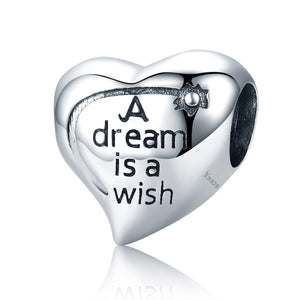 Authentic 100% 925 Sterling Silver Dream is Wish Charms Beads fit Women Bracelets Necklaces Jewelry Accessories SCC428