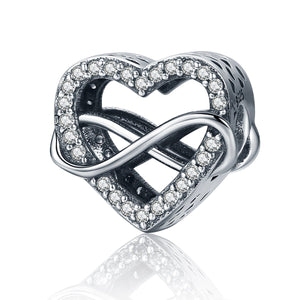 Authentic 100% 925 Sterling Silver Endless Love Infinity Love Charms Beads fit Women Bracelets Jewelry Accessories SCC432