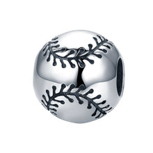 Load image into Gallery viewer, Sport Collection Real 925 Sterling Silver Sport Baseball Round Ball Beads Fit Charm Bracelet DIY Jewelry S925 SCC449