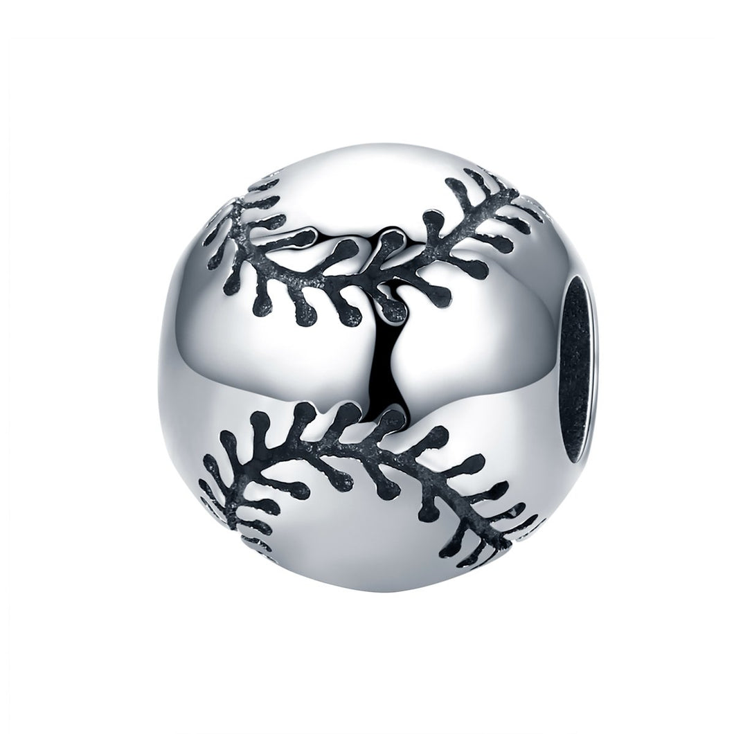 Sport Collection Real 925 Sterling Silver Sport Baseball Round Ball Beads Fit Charm Bracelet DIY Jewelry S925 SCC449