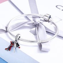 Load image into Gallery viewer, 100% 925 Sterling Silver Women Shoes Mirror Makeup Pendant Charm fit Women Bracelet DIY Jewelry Women Gift SCC457
