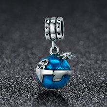 Load image into Gallery viewer, Authentic 925 Sterling Silver Blue Planet Enamel Charm Pendant fit Women Charm Bracelet Necklace Jewelry Gift SCC469
