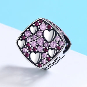 Authentic 925 Sterling Silver Pink Crystal Heart Square Charm Beads fit Charm Bracelet Jewelry Girlfriend Gift SCC471