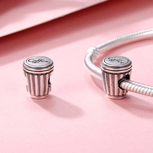 Valentine Day Gift 100% 925 Sterling Silver Coffee Love Coffee Cup Charm Beads Fit Charm Bracelet DIY Jewelry SCC477