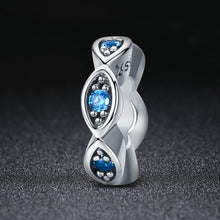 Load image into Gallery viewer, Real 100% 925 Sterling Silver Lucky Blue Eye Glittering CZ Spacer Charm Beads fit Original Women Bracelet Jewelry SCC513