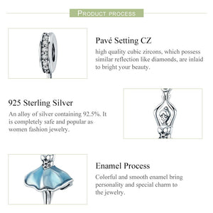Popular Genuine 925 Sterling Silver Ballet Girl Ballet Angel Pendant Charm fit Women Charm Bracelet DIY Jewelry SCC514