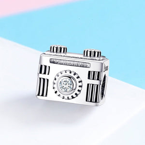 Original 925 Sterling Silver Sentimental Snapshots Camera Charm Fit Bracelet & Necklace Black Enamel DIY Jewelry SCC516