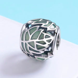 Authentic 925 Sterling Silver Tree of Life Tree Leaves Green Enamel Beads fit Charm Bracelet for Women DIY Jewelry SCC524