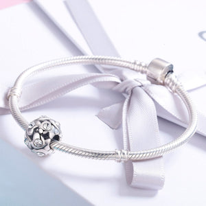 Authentic 925 Sterling Silver Heart Luminous AAA Cubic Zircon Beads fit Charm Bracelet Necklace Valentine Day Gift SCC527