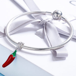 New Arrival 100% 925 Sterling Silver Red Chili Pepper Pendant Charm fit Women Charm Bracelet & Necklace Jewelry SCC530