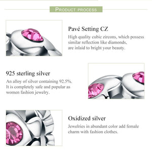 Authentic 100% 925 Sterling Silver Heart Pink Crystal AAA Cubic Zircon Beads fit Charm Bracelet Valentine Day Gift SCC535