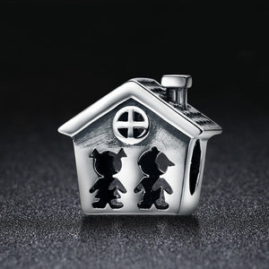 100% 925 Sterling Silver Perfection Sweet Home Family Together Forever Charm Beads fit Charm Bracelet Gift S925 SCC541