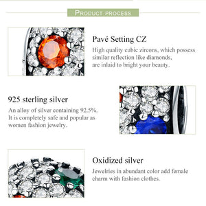 High Quality 100% 925 Sterling Silver Sparkling AAA Zircon Round Charm Beads fit Charm Bracelet Fine Jewelry Gift SCC547