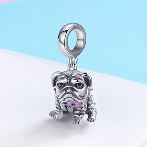 Authentic 925 Sterling Silver Cute English Bulldog Dog Charm Beads fit Original Charm Bracelet DIY Jewelry Making SCC552