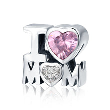 Load image into Gallery viewer, Authentic 925 Sterling Silver I Love Mom Gift For Mother Charm fit Women Charm Bracelet & Necklace DIY Jewelry SCC579