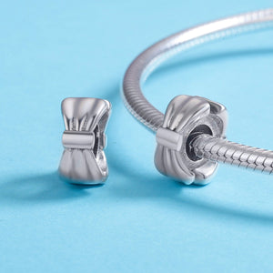 New Arrival Genuine 925 Sterling Silver Bowknot Silicon Spacer Beads fit Bracelets & Bangles DIY Jewelry Making SCC600