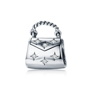 Genuine 925 Sterling Silver Dazzling Clear CZ Women Handbag Charm Beads fit Charm Bracelet & Necklace 925 Jewelry SCC607