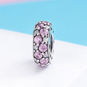 New Authentic 925 Sterling Silver Classic Pink CZ Spacer Charm Beads fit Women Bracelet Bangles DIY Fine Jewelry SCC635