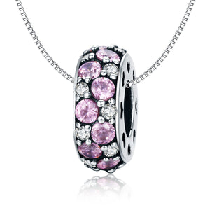 925 Sterling Silver Pink CZ Pandora Compatible Spacer