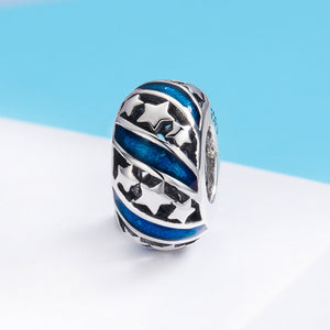 Genuine 925 Sterling Silver Sparkling Star Blue Enamel Spacer Beads fit Women Bracelet Bangles DIY Fine Jewelry SCC636