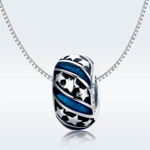925 Sterling Silver Blue Star Patterned Pandora Compatible Spacer