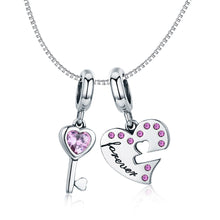 Load image into Gallery viewer, Romantic 925 Sterling Silver Lock Key of Heart Pink CZ Charm Pendant fit Charm Bracelet Jewelry Girlfriend Gift SCC638