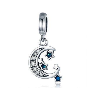 Authentic 925 Sterling Silver Sparkling Sky Moon & Star Clear CZ Dangle Charm fit Charm Bracelet Fine Jewelry Gift SCC639