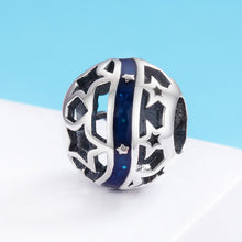 Load image into Gallery viewer, Genuine 925 Sterling Silver Sparkling Galaxy Star Blue Enamel Beads fit Women Bracelet Bangles DIY Jewelry S925 SCC640