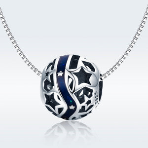 925 Sterling Silver Blue Galaxy Star Motive Pandora Compatible Bead Charm