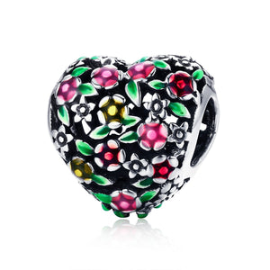 Summer Collection 100% 925 Sterling Silver Valley Of Flowers Heart Charm Beads fit Women Bracelet DIY Jewelry Gift SCC646