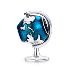 Load image into Gallery viewer, Authentic 925 Sterling Silver Tellurion Blue Enamel Charm Beads fit Women Charm Bracelet & Necklaces Jewelry Gift SCC658